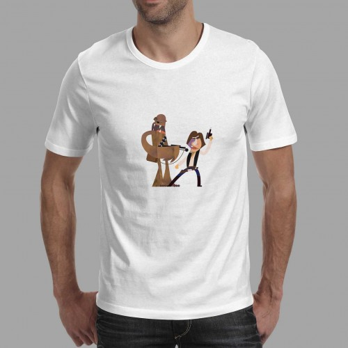 T-shirt homme Han Solo et Chewbacca