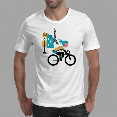 T-shirt homme Parisienne à vélo