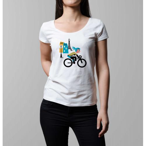 T-shirt femme Parisienne à vélo