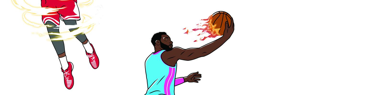 Amandine B. photographie et Adrien Pom. illustre: à deux, ils créé une série de visuels qui rend hommage au stars du basket US et aux terrains de jeu de leurs villes d'accueil. Disponibles en affiches et t-shirts.
